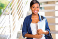 Afro american college student beautiful with books Stock Image