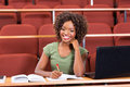 Afro american college student happy female Royalty Free Stock Photos