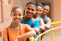 Afro american college students group of cheerful Stock Image