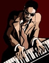 Afro american jazz pianist vector illustration of an Stock Image