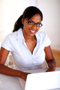 Afro-american secretary looking at you Stock Photography