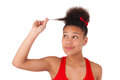 Afro american young woman afro hair isolated Stock Images