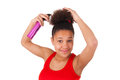 Afro american young woman with afro hair isolated Stock Images