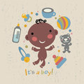 Afro baby boy arrival announcement card vector illustration Stock Image