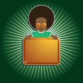Afro boy holding sign Royalty Free Stock Image