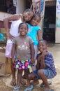 Afro caribbean children smiling in garifuna village Royalty Free Stock Photos