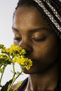 Afro descendant woman smelling a flower close up of black brazilian with braided hair yellow Royalty Free Stock Photography