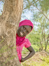 Afro girl playing hide and seek behind a filao tree ten years old Stock Photography