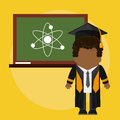 Afro graduate student with class board atom