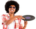 Afro man acting as DJ Royalty Free Stock Photo