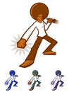 Afro man action character with a giant Stock Image