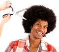 Afro man at the hairdresser Royalty Free Stock Photos
