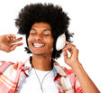 Afro man with headphones Royalty Free Stock Photo