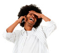 Afro man talking on the phone Royalty Free Stock Images