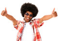 Afro man with thumbs up Stock Photos