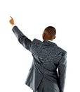 Afroammerican businessman points finger up Stock Photo