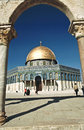 The afternoon sun shines on the golden Dome of the Rock and chur Royalty Free Stock Photo