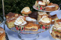 Afternoon tea assorted homemade cakes and buns Royalty Free Stock Photo