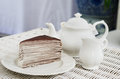 Afternoon tea with crape cake chocolate Stock Photography