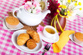 Afternoon tea with fresh baking Royalty Free Stock Photography