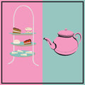 Afternoon tea retro background with a cake stand and a teapot for a party Stock Photo