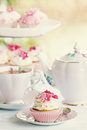Afternoon tea served cupcakes Royalty Free Stock Images