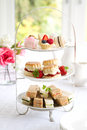 Afternoon tea traditional served with scones Royalty Free Stock Images