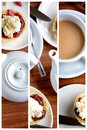 Afternoon tea triptych collage of traditional english of scones with clotted cream and jam along with a cup of hot Stock Photography