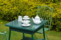 Afternoon tea for two on a summers day in the garden Royalty Free Stock Images