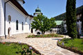 Agapia orthodox monastery courtyard the outdoor architecture of the landmark in romania Royalty Free Stock Images