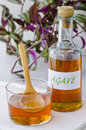 Agave syrup in a glass alternative sweetener to sugar selective focus white background taken in daylight Stock Photo