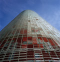 Agbar tower front detail designed by french architect jean nouvel in barcelona city spain Royalty Free Stock Photos