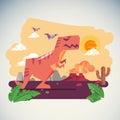 The Age of Dinosaurs with Volcano Eruption background -  illustartion Royalty Free Stock Photo