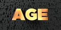 Age - Gold text on black background - 3D rendered royalty free stock picture Royalty Free Stock Photo