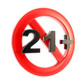 Age limit (21+) round symbol isolated Stock Images