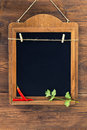 Aged blackboard with chilli peppers and parsley hanging on wooden wall Royalty Free Stock Photo