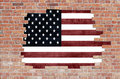 Aged brick wall with flag of USA Stock Photo