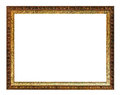 Aged carved golden and brown wooden picture frame Royalty Free Stock Photo