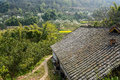 Aged chinese farmhouse in flowering mountain on sunny spirng an floweirng day chengdu china Royalty Free Stock Photo