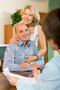 Aged couple questionnaire for marketing worker or employeeany Royalty Free Stock Photo