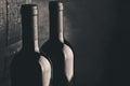 Aged fine wine bottles Royalty Free Stock Photo