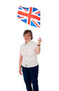 Aged lady with a union jack Royalty Free Stock Images