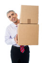 Aged man holding cardboard boxes manager handing pile of Stock Photos