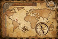 Aged map, ruler, rope and old compass Royalty Free Stock Photo