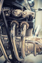 Aged motorcycle engine detail Royalty Free Stock Photo