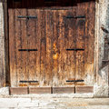 Aged old doors in venice italy Royalty Free Stock Photo