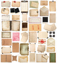 Aged paper sheets, books, pages and old postcards isolated on wh Royalty Free Stock Photo