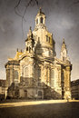 Aged phopto of frauenkirche in dresden retro style vintage paper texture Royalty Free Stock Photography