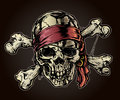 Aged pirate skull jolly roger bandana eye patch Royalty Free Stock Images