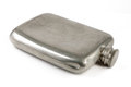 Aged silver hip flask Royalty Free Stock Photo